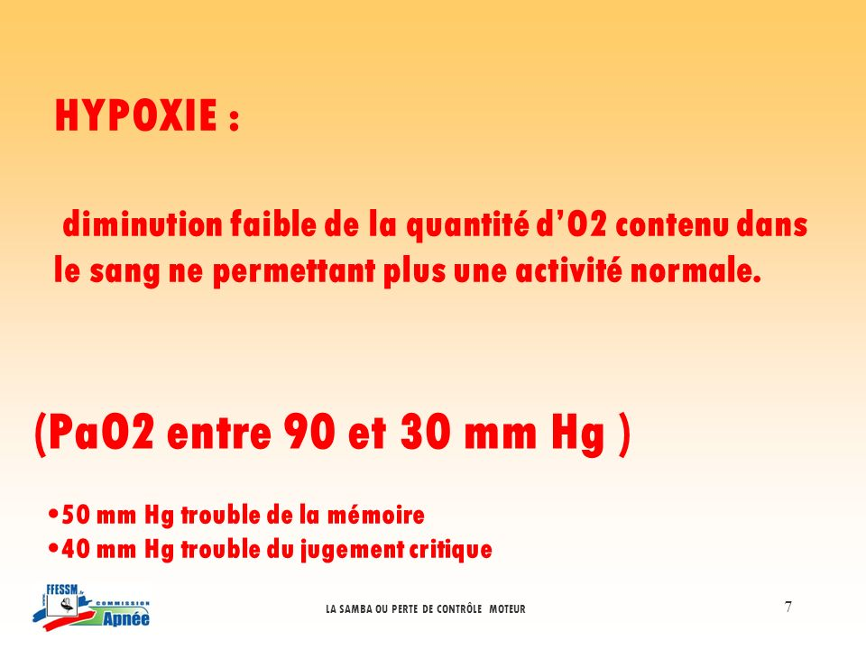 (PaO2 entre 90 et 30 mm Hg ) HYPOXIE :