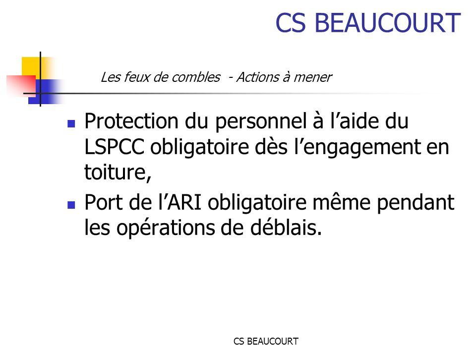 CS BEAUCOURT Les feux de combles - Actions à mener. Protection du personnel à l'aide du LSPCC obligatoire dès l'engagement en toiture,