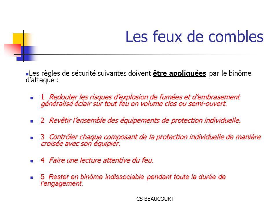 Les feux de combles Les règles de sécurité suivantes doivent être appliquées par le binôme d'attaque :