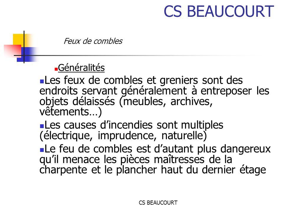 CS BEAUCOURT Feux de combles. Généralités.