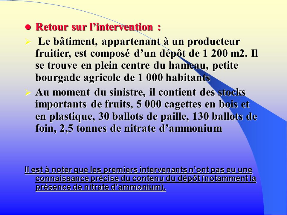 Retour sur l'intervention :