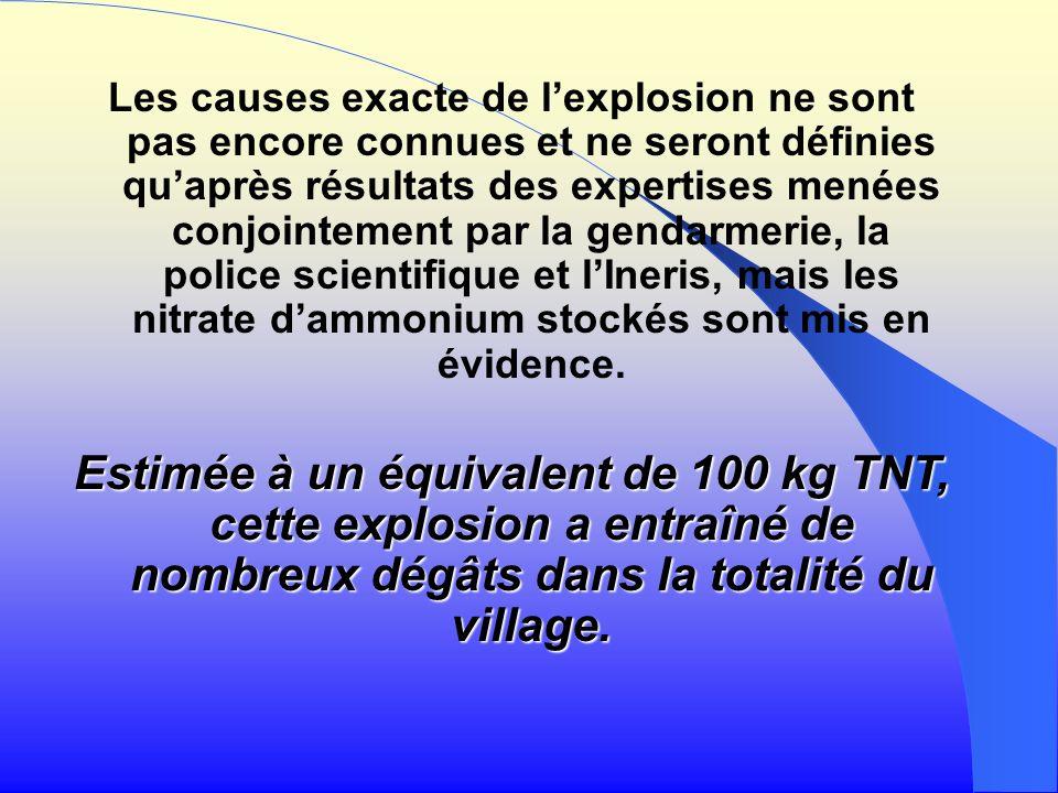 Les causes exacte de l'explosion ne sont pas encore connues et ne seront définies qu'après résultats des expertises menées conjointement par la gendarmerie, la police scientifique et l'Ineris, mais les nitrate d'ammonium stockés sont mis en évidence.
