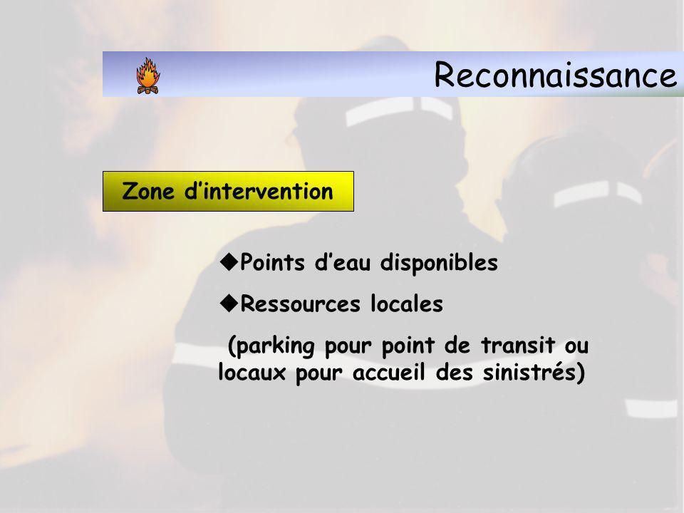 Reconnaissance Zone d'intervention Points d'eau disponibles