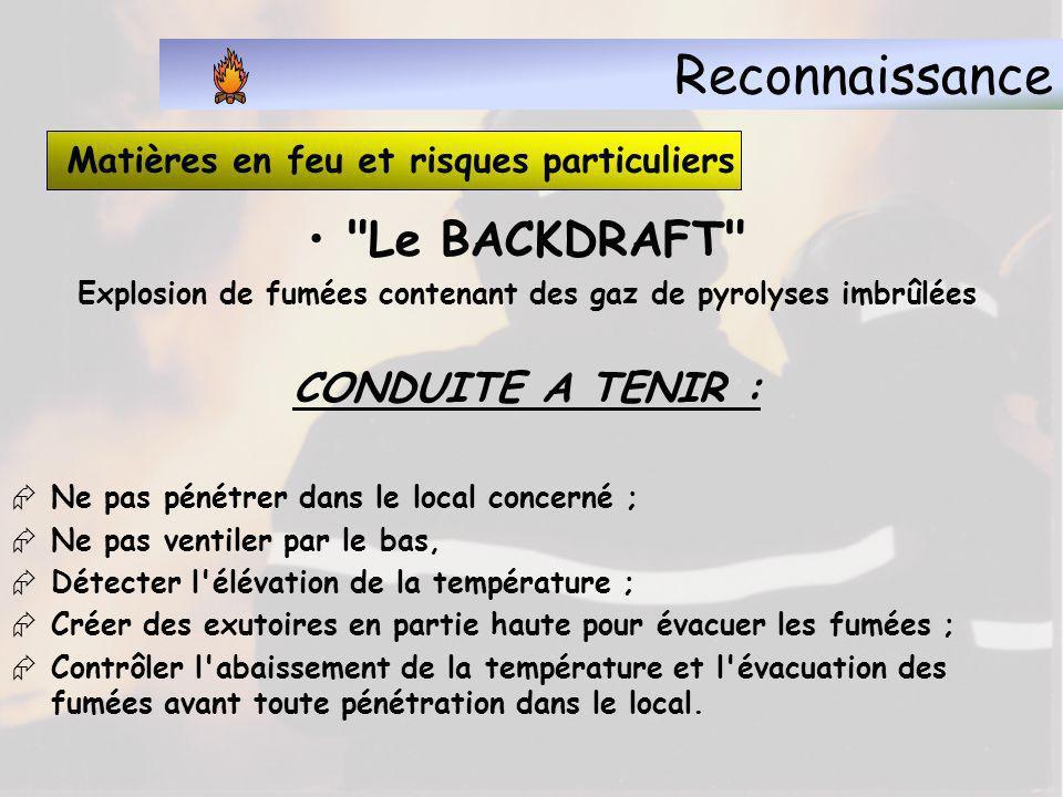 Reconnaissance Le BACKDRAFT CONDUITE A TENIR :