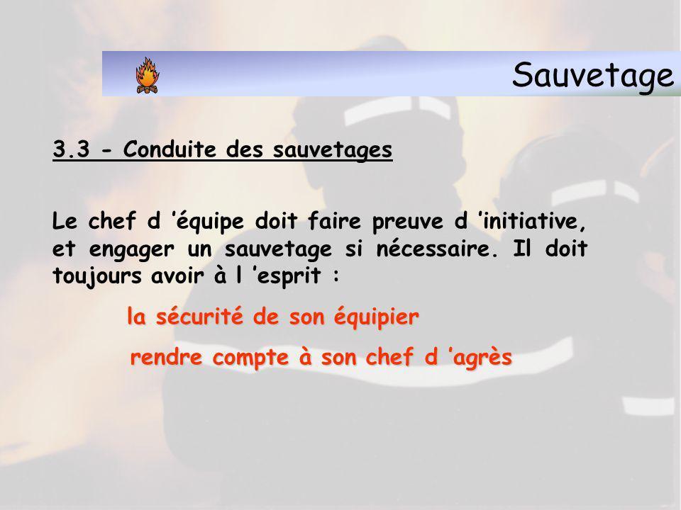 Sauvetage 3.3 - Conduite des sauvetages