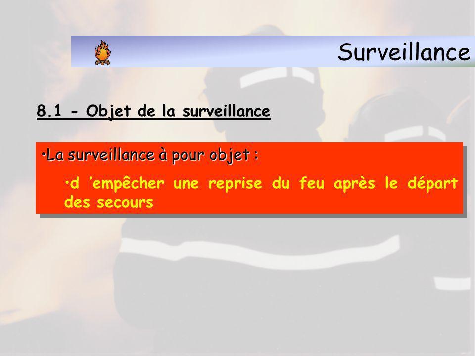Surveillance 8.1 - Objet de la surveillance