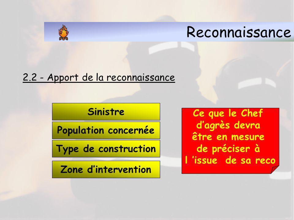 Reconnaissance 2.2 - Apport de la reconnaissance Sinistre