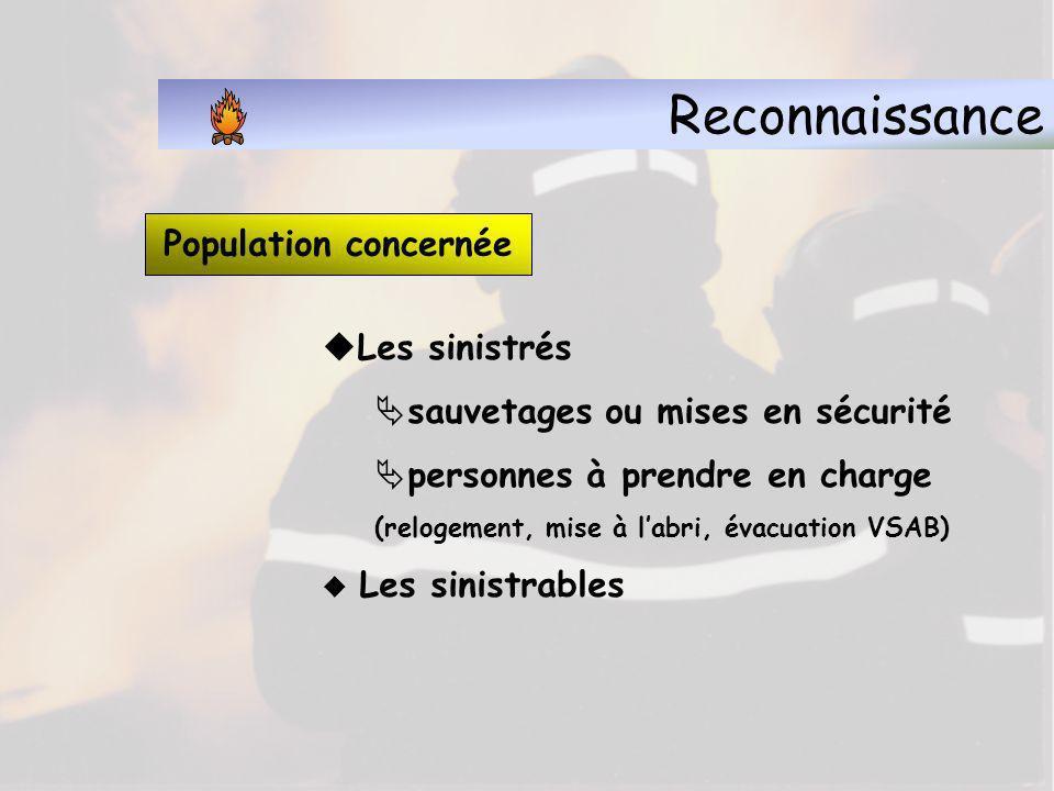 Reconnaissance Population concernée Les sinistrés