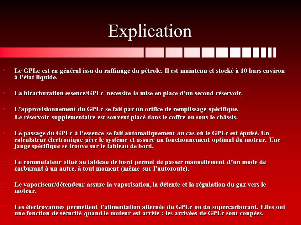 Explication Le GPLc est en général issu du raffinage du pétrole. Il est maintenu et stocké à 10 bars environ à l'état liquide.