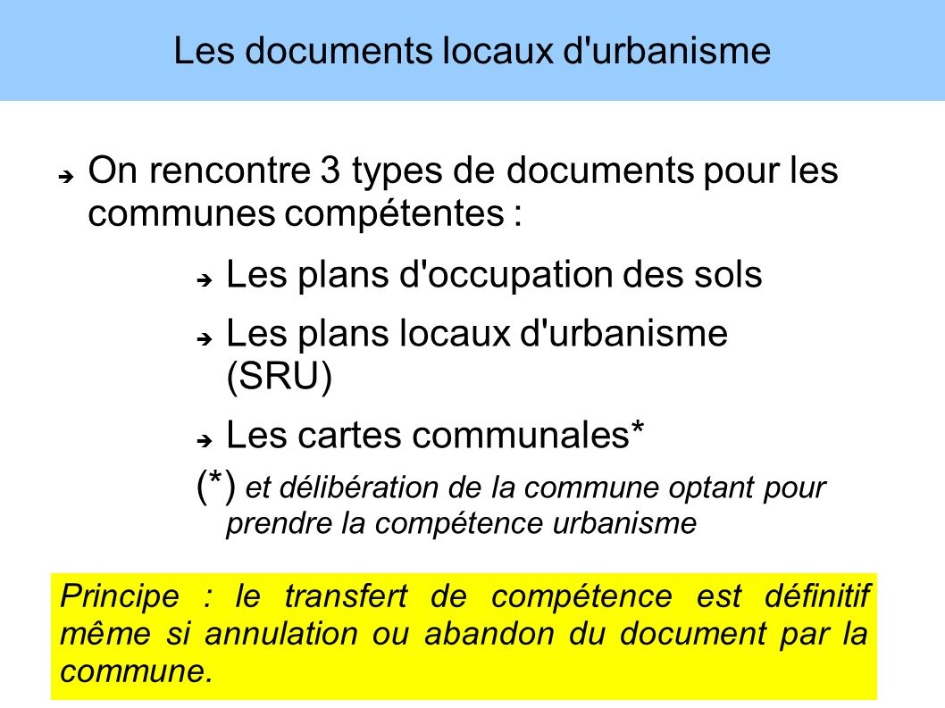 Les documents locaux d urbanisme