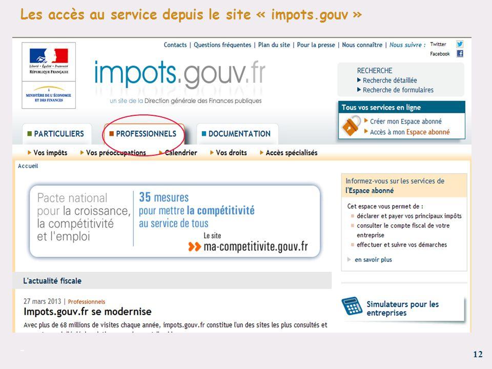 Les accès au service depuis le site « impots.gouv »