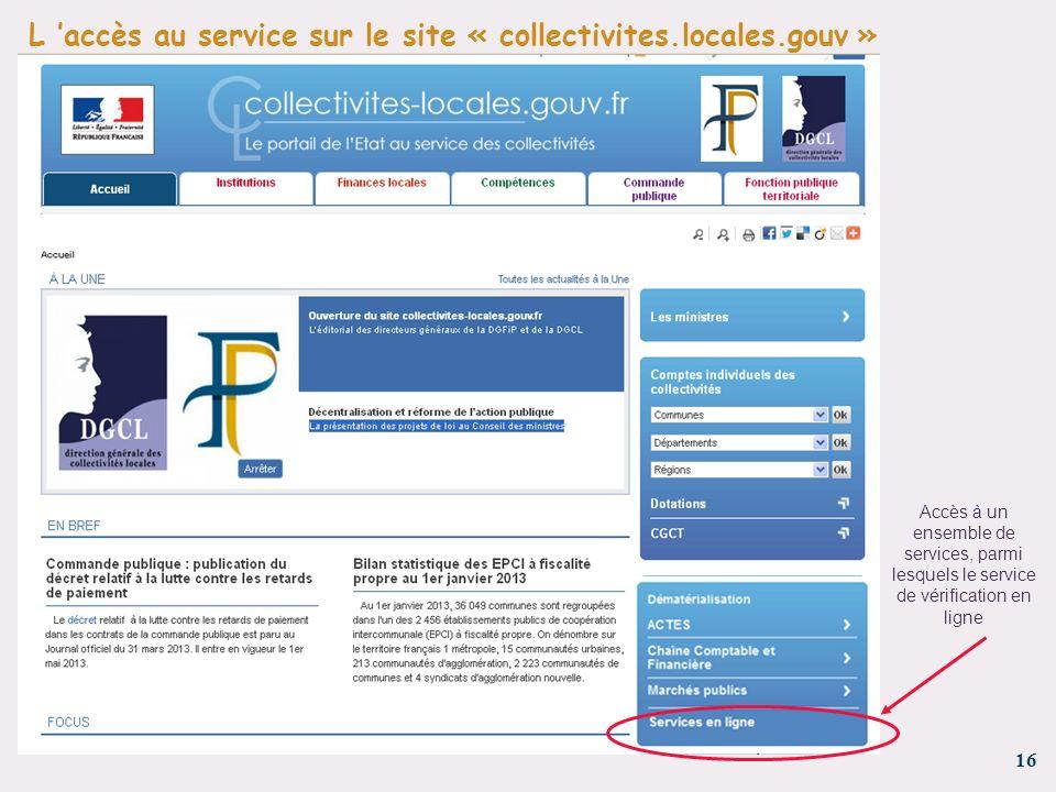 L 'accès au service sur le site « collectivites.locales.gouv »