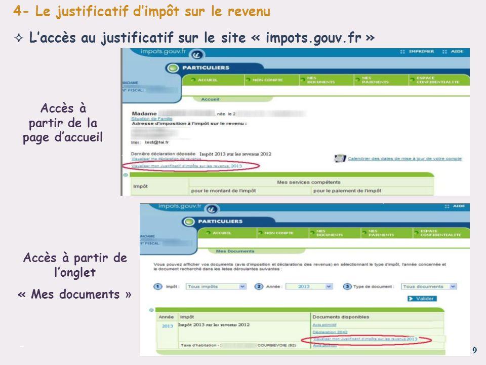 Accès à partir de la page d'accueil Accès à partir de l'onglet