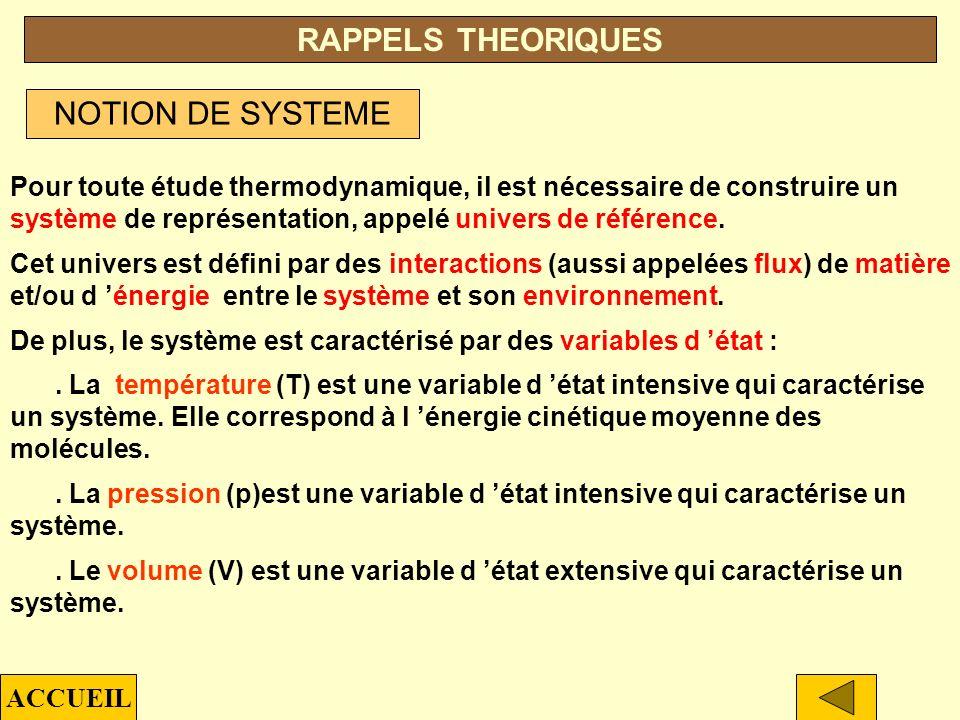 RAPPELS THEORIQUES NOTION DE SYSTEME