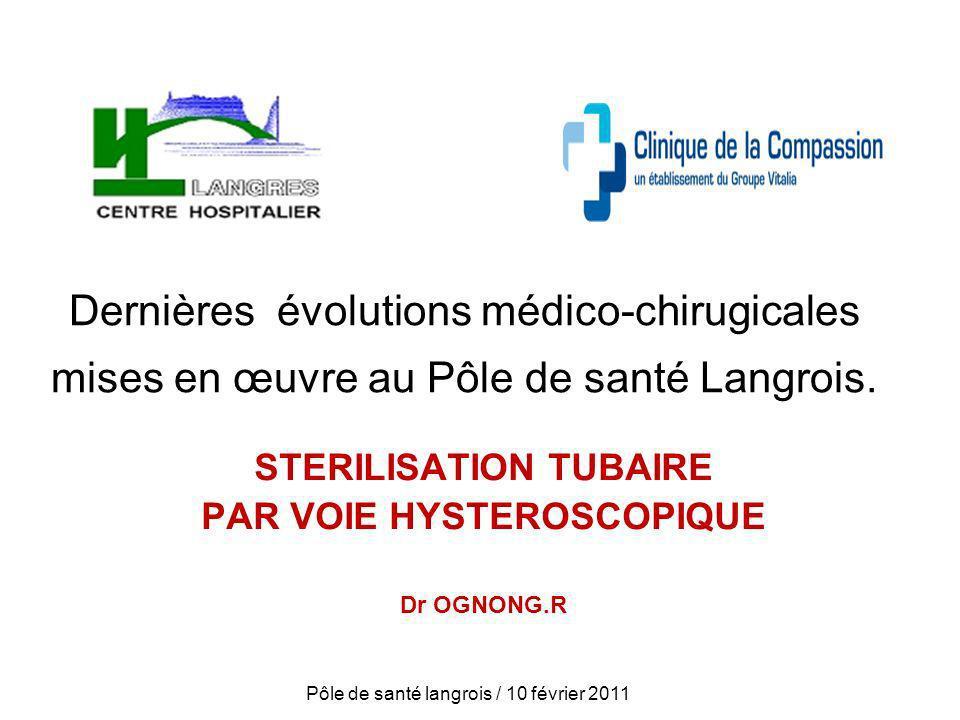 STERILISATION TUBAIRE PAR VOIE HYSTEROSCOPIQUE Dr OGNONG.R
