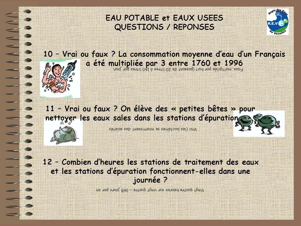EAU POTABLE et EAUX USEES QUESTIONS / REPONSES