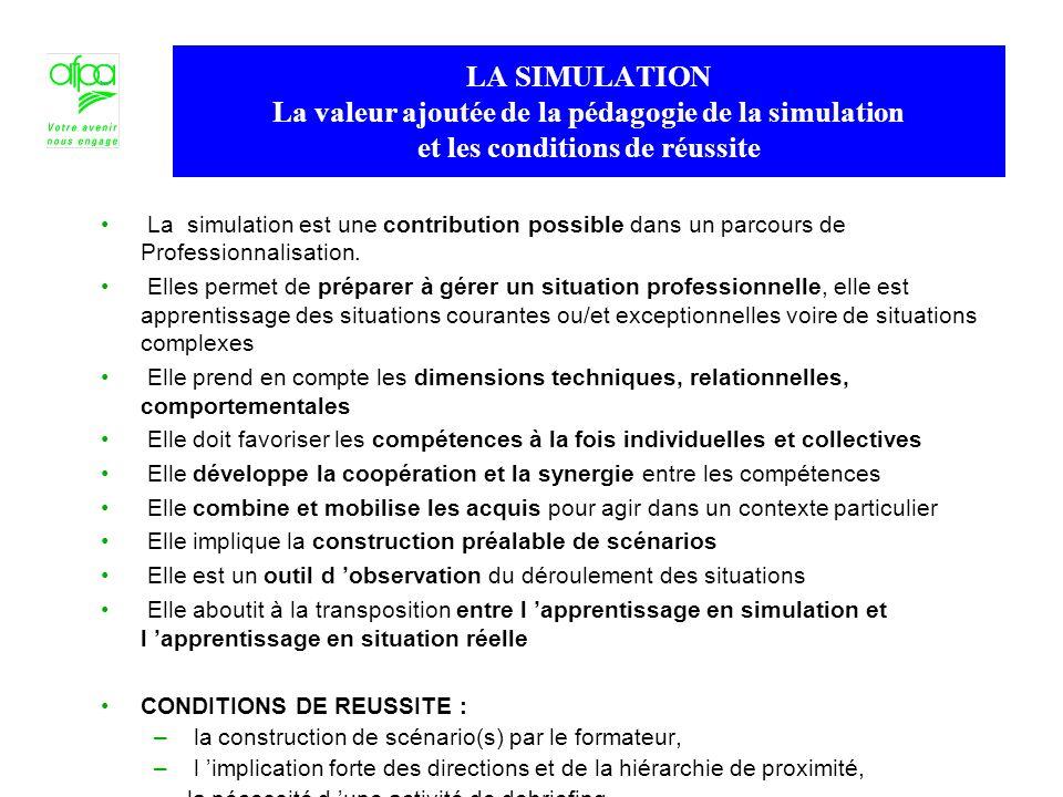 LA SIMULATION La valeur ajoutée de la pédagogie de la simulation et les conditions de réussite