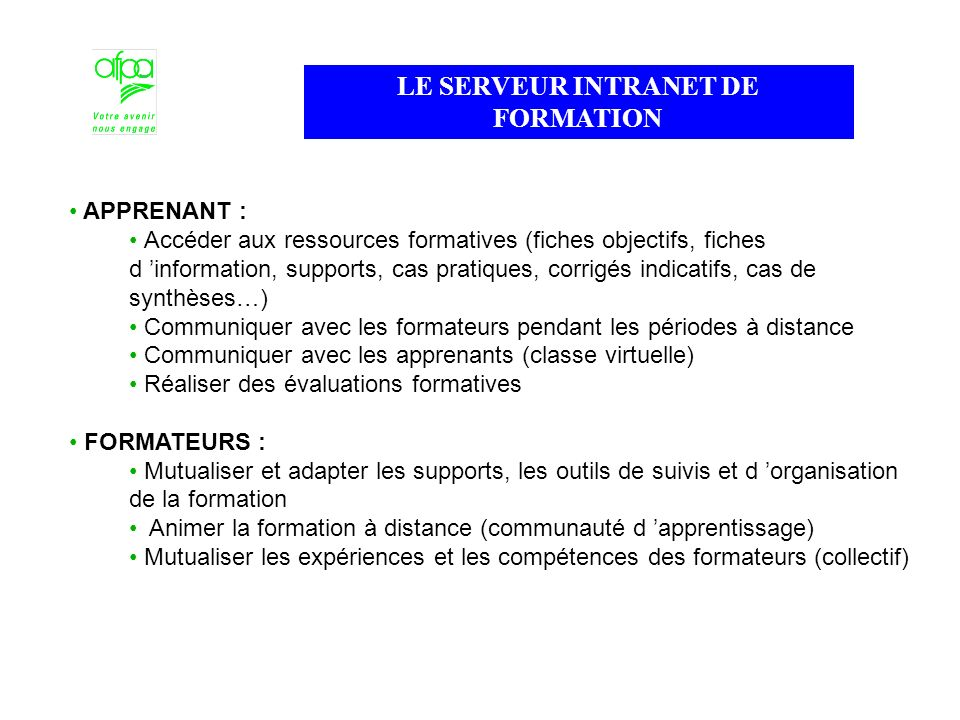 LE SERVEUR INTRANET DE FORMATION