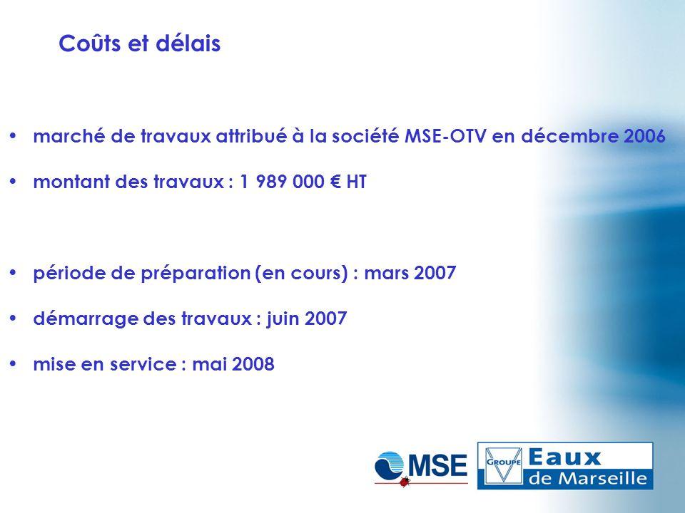 Coûts et délais marché de travaux attribué à la société MSE-OTV en décembre 2006. montant des travaux : 1 989 000 € HT.