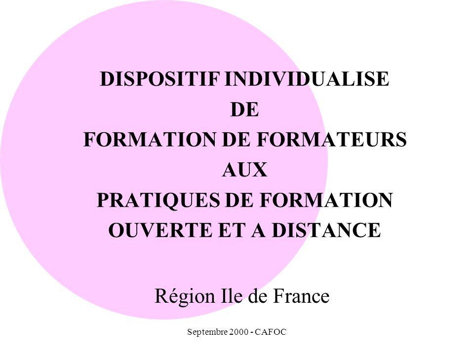 DISPOSITIF INDIVIDUALISE DE FORMATION DE FORMATEURS AUX PRATIQUES DE FORMATION OUVERTE ET A DISTANCE