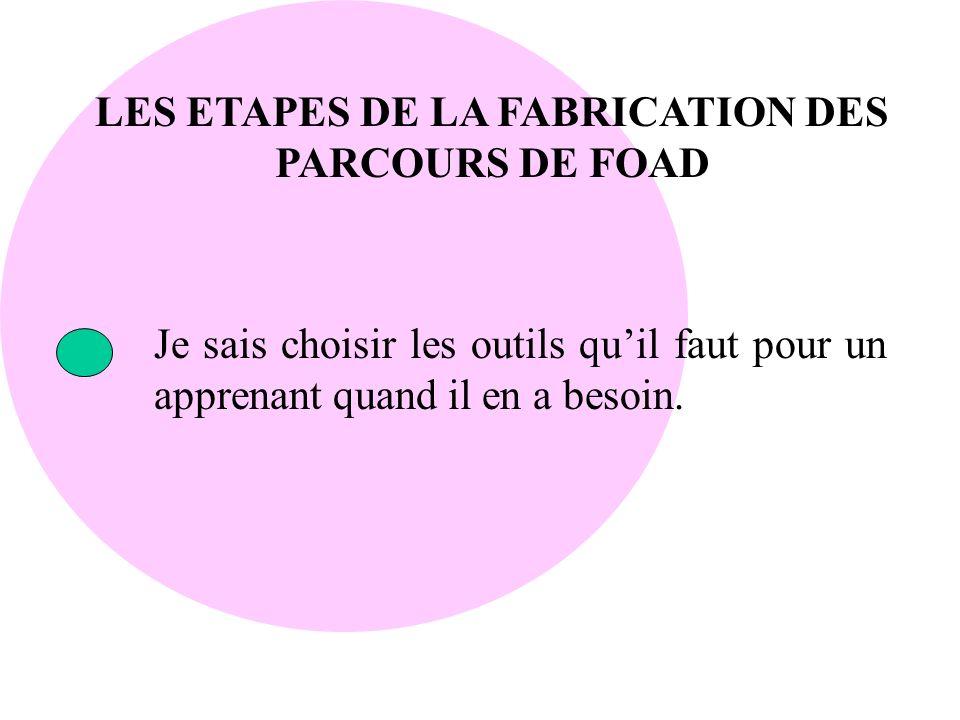LES ETAPES DE LA FABRICATION DES PARCOURS DE FOAD