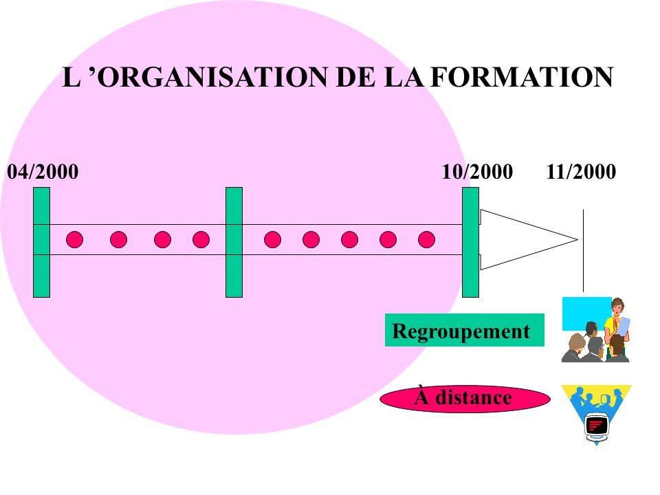 L 'ORGANISATION DE LA FORMATION