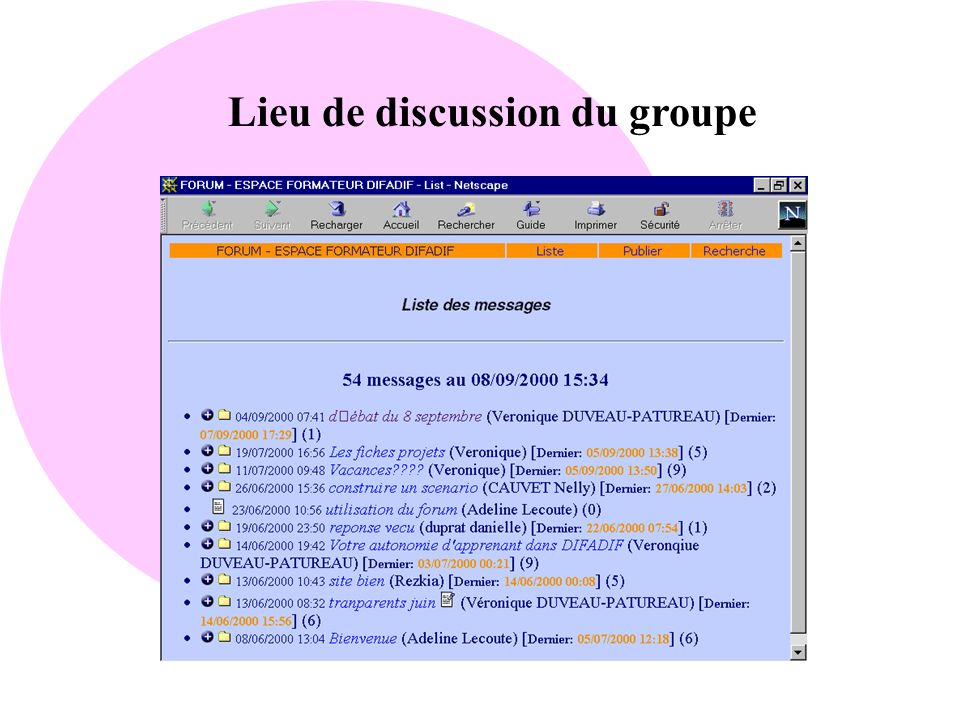 Lieu de discussion du groupe