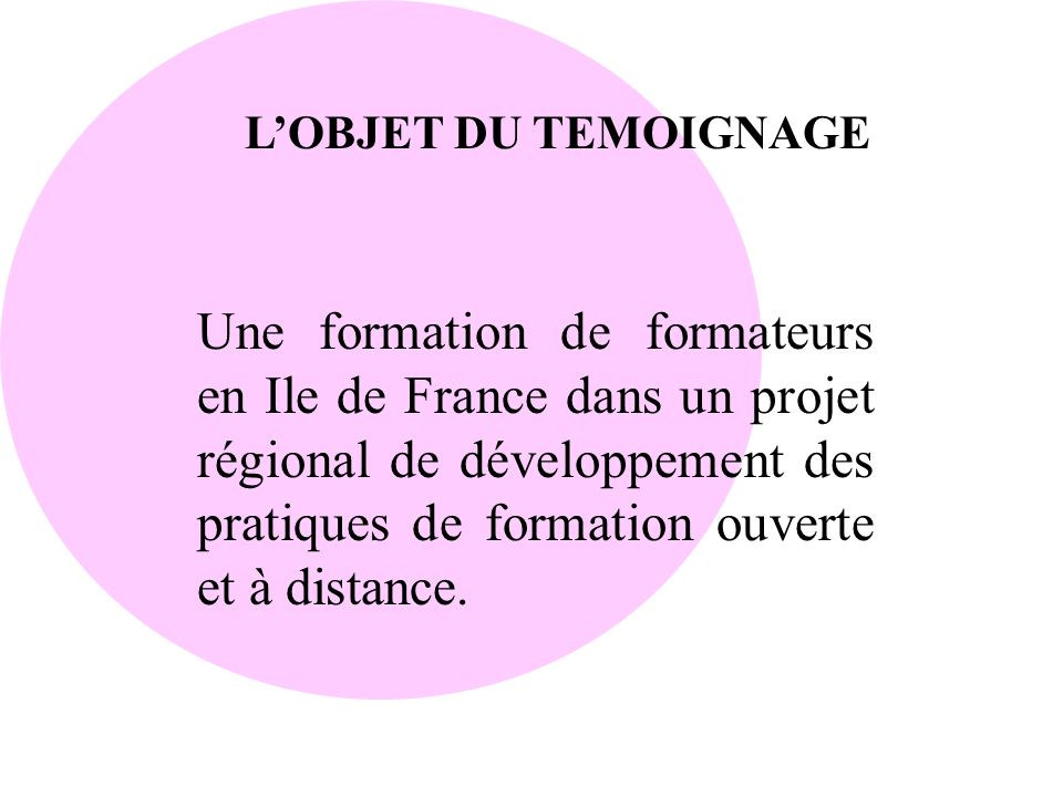 L'OBJET DU TEMOIGNAGE
