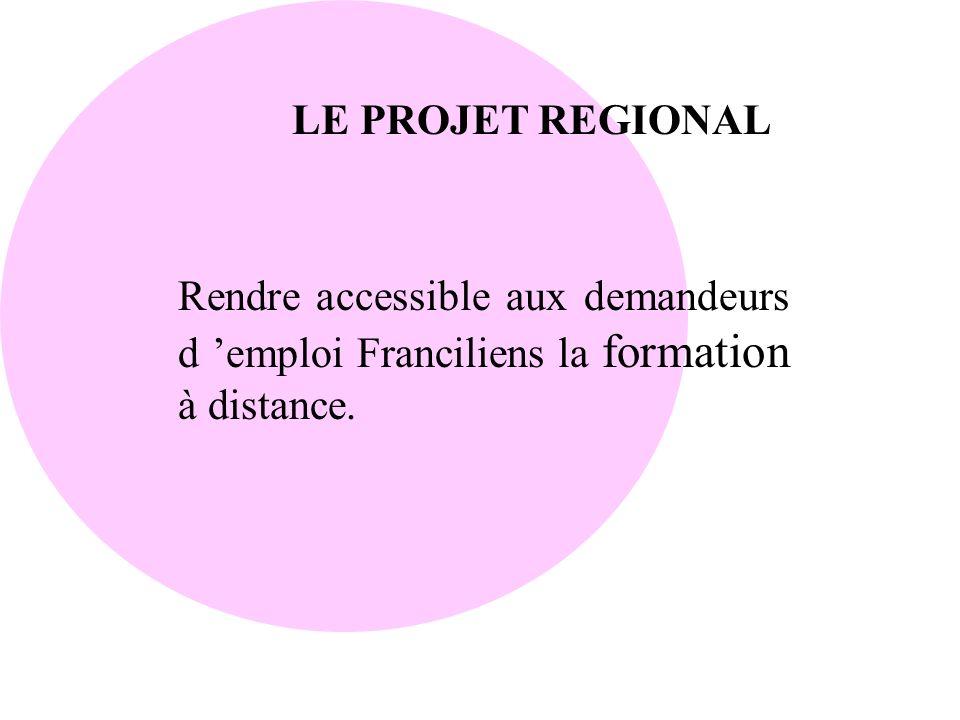 LE PROJET REGIONAL Rendre accessible aux demandeurs d 'emploi Franciliens la formation à distance.