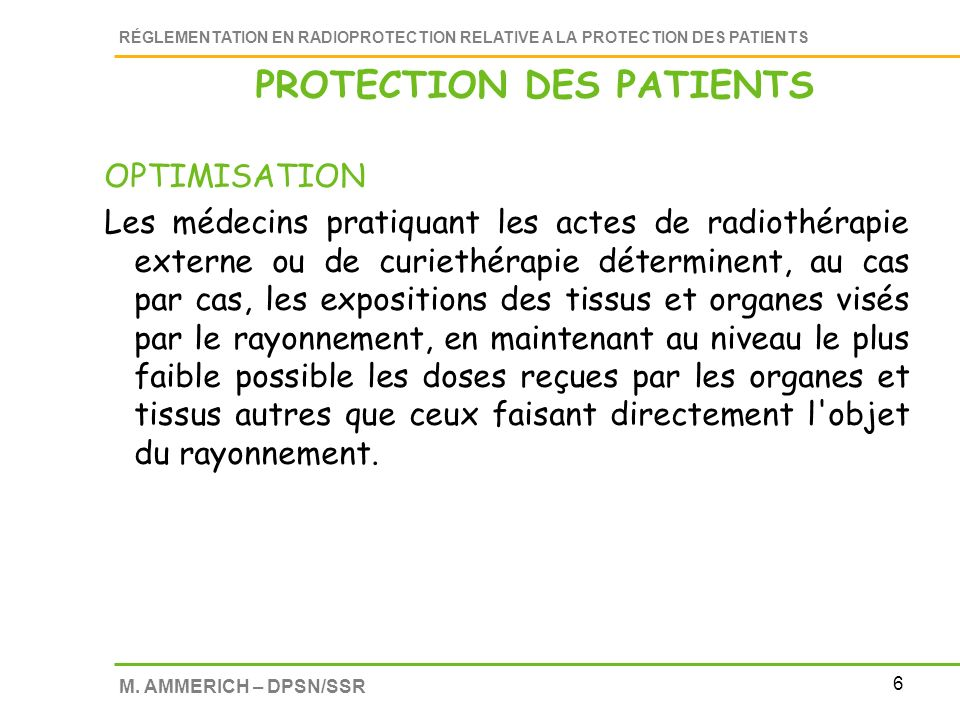PROTECTION DES PATIENTS