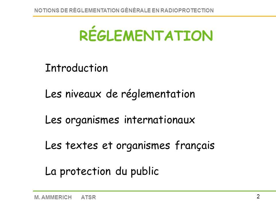 RÉGLEMENTATION Introduction Les niveaux de réglementation