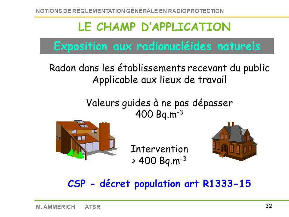 LE CHAMP D'APPLICATION Exposition aux radionucléides naturels