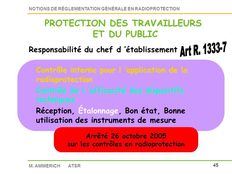 PROTECTION DES TRAVAILLEURS sur les contrôles en radioprotection
