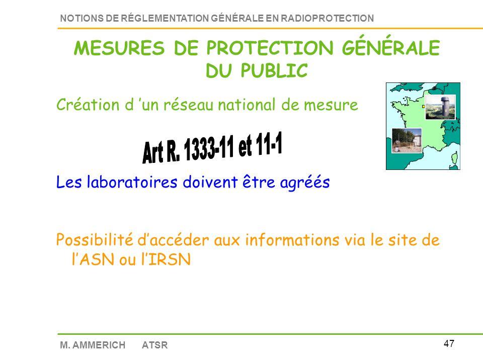 MESURES DE PROTECTION GÉNÉRALE DU PUBLIC