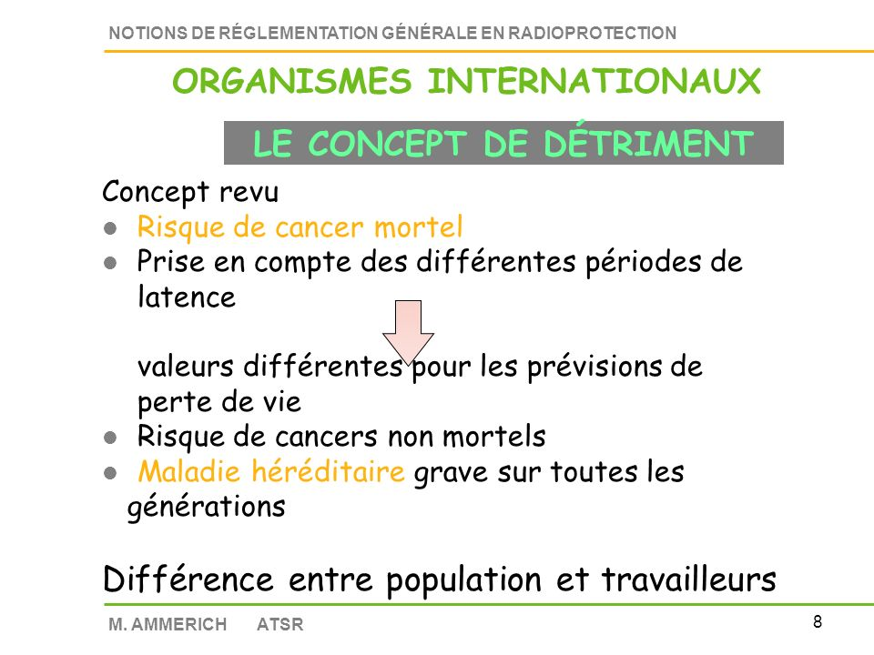 ORGANISMES INTERNATIONAUX LE CONCEPT DE DÉTRIMENT