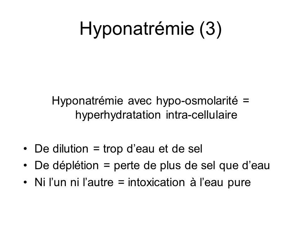 Hyponatrémie avec hypo-osmolarité = hyperhydratation intra-cellulaire