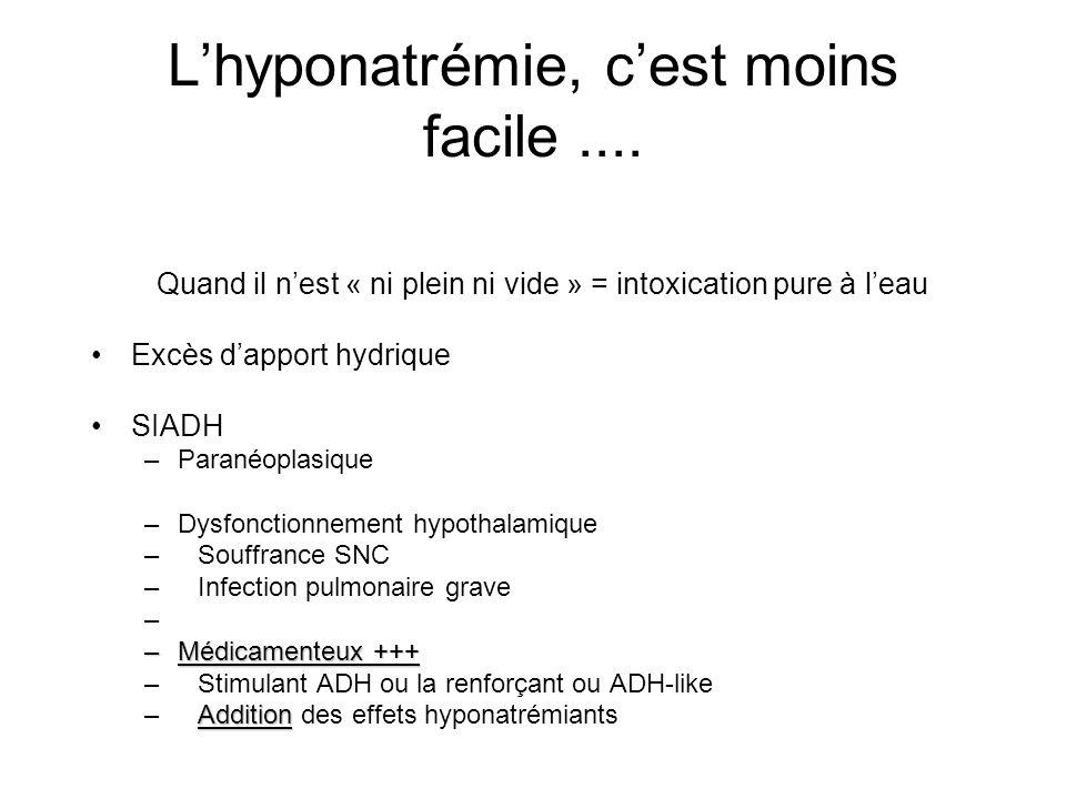 L'hyponatrémie, c'est moins facile ....