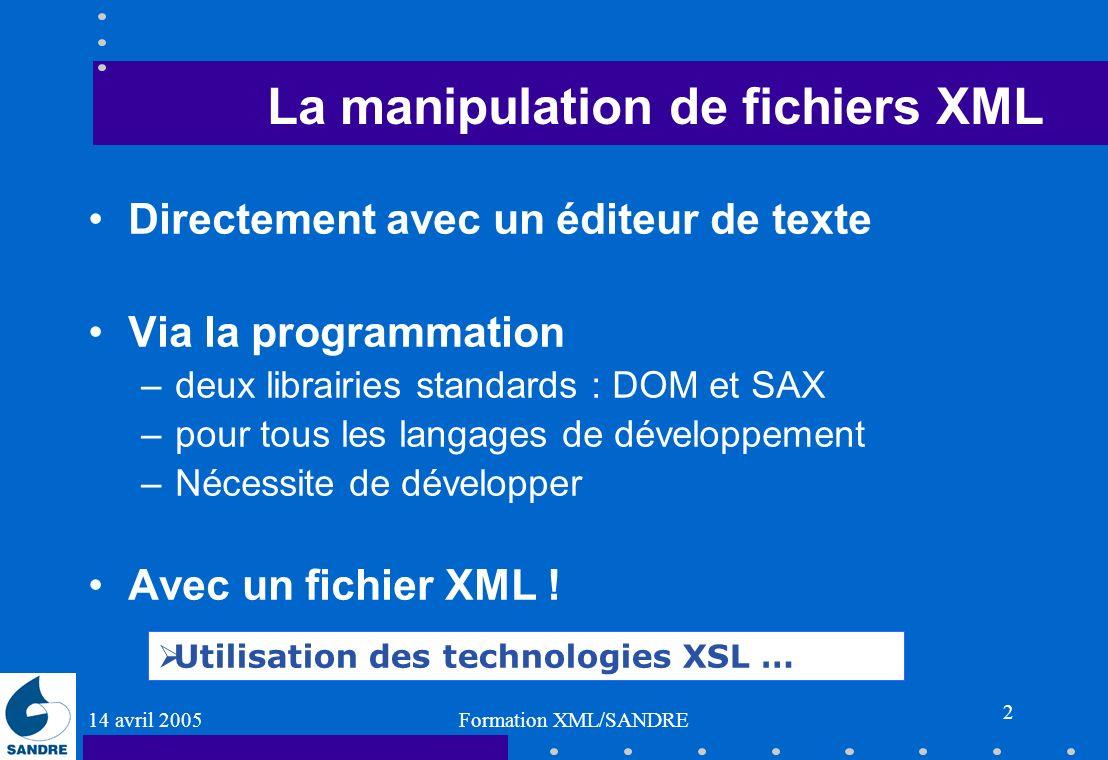 La manipulation de fichiers XML