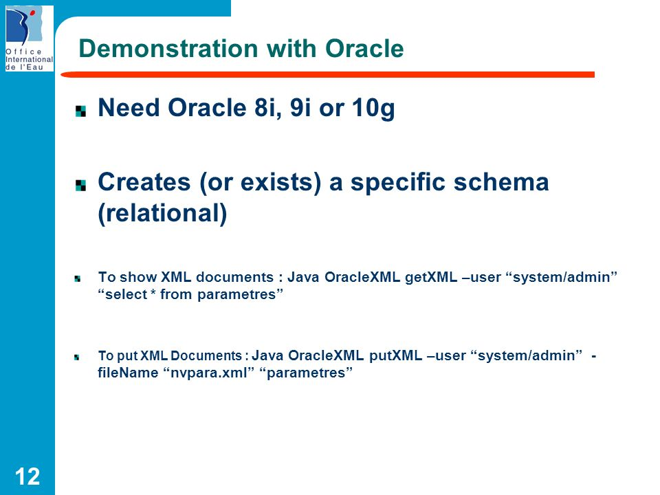 Demonstration with Oracle