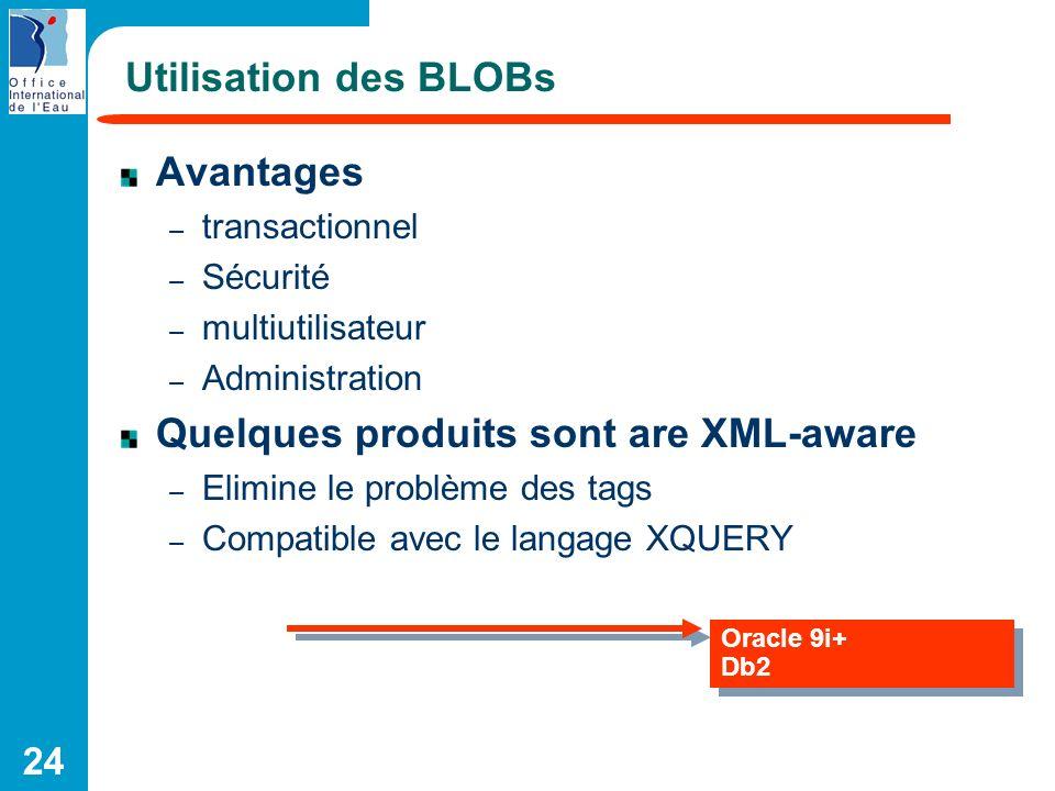 Quelques produits sont are XML-aware