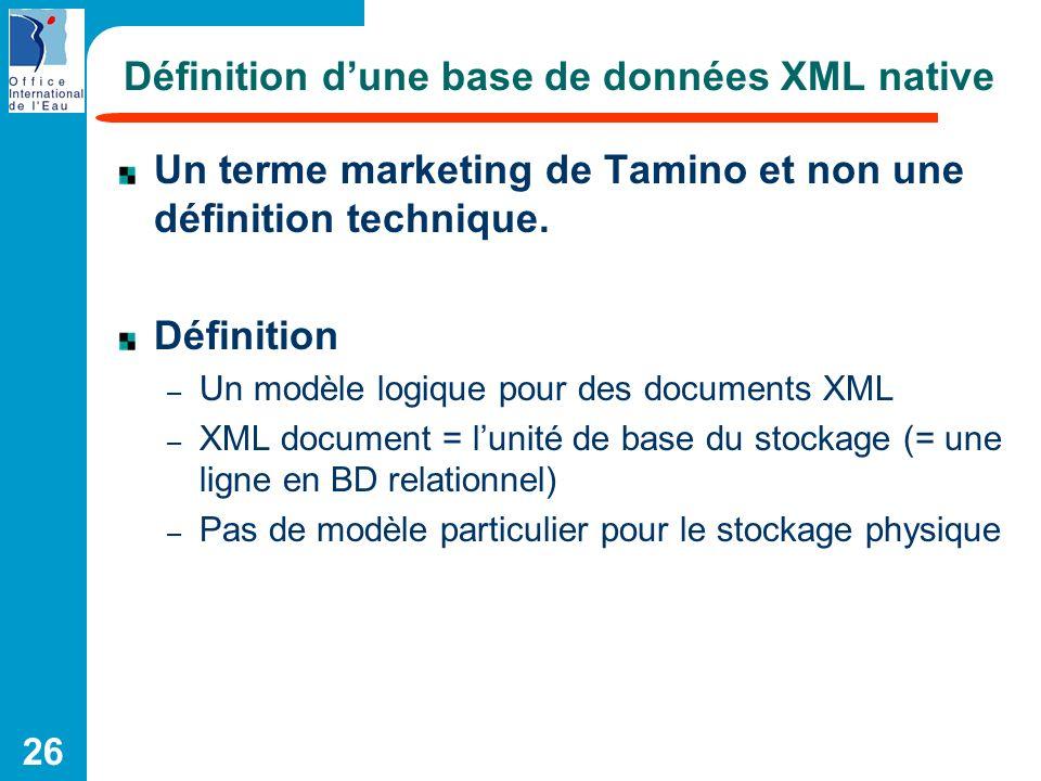 Définition d'une base de données XML native