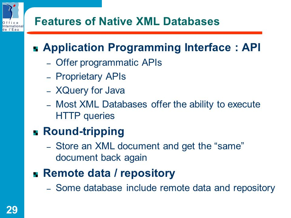 Features of Native XML Databases