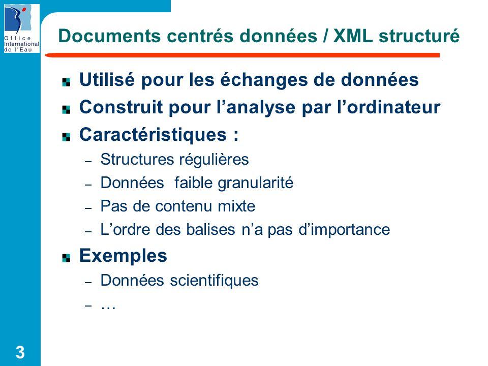 Documents centrés données / XML structuré