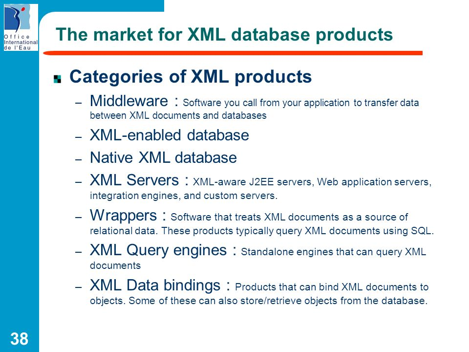 The market for XML database products