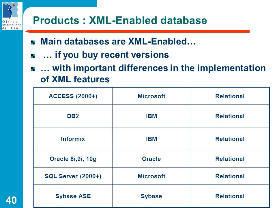 Products : XML-Enabled database