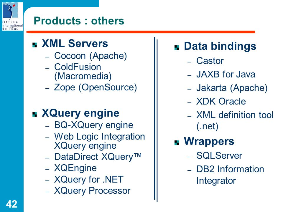 Products : others XML Servers XQuery engine Data bindings Wrappers