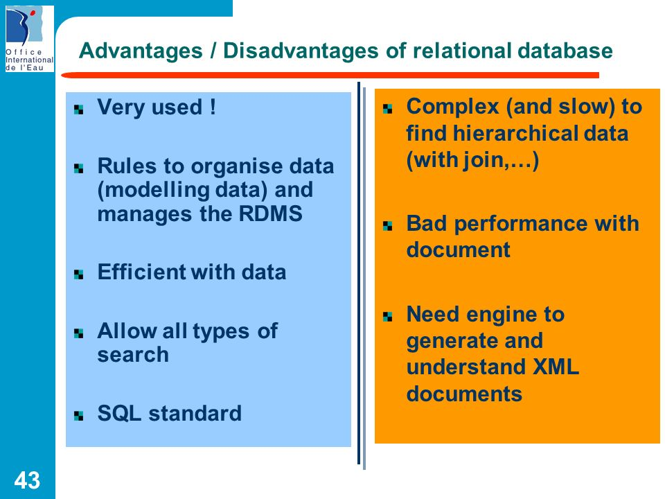 Advantages / Disadvantages of relational database