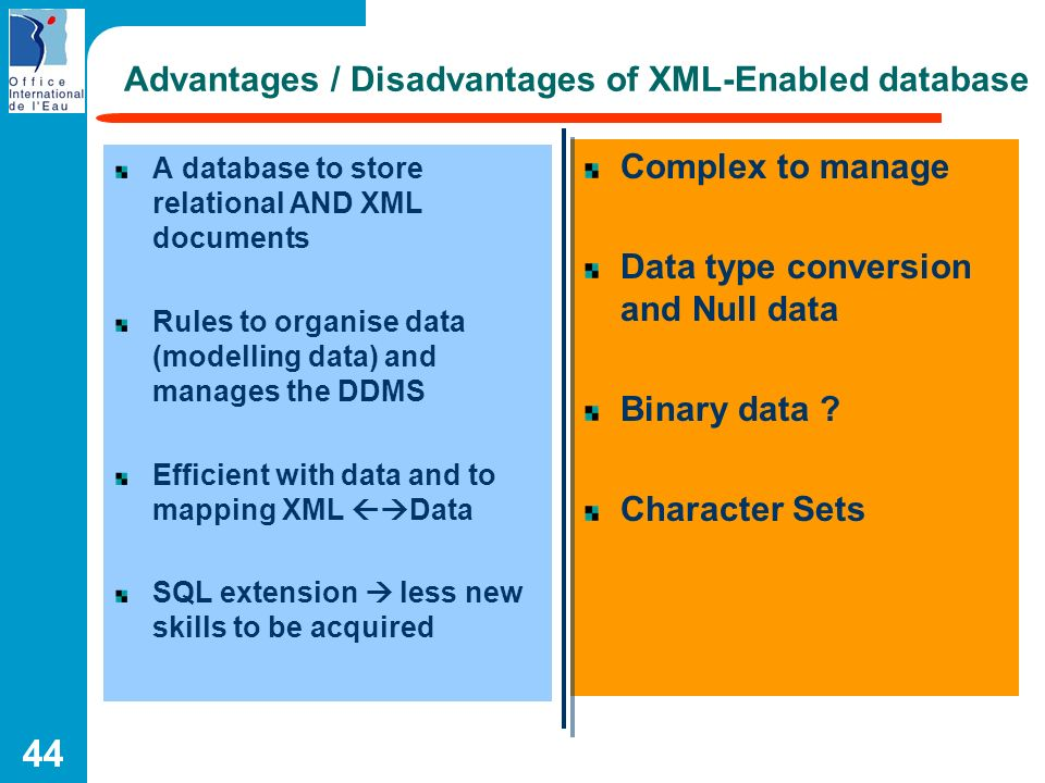 Advantages / Disadvantages of XML-Enabled database