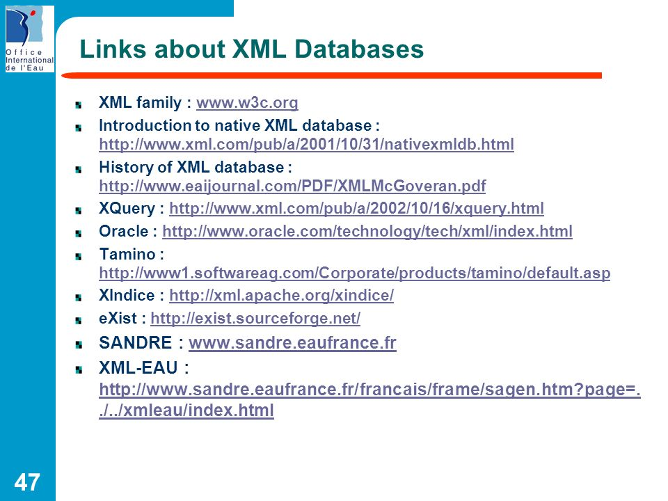 Links about XML Databases