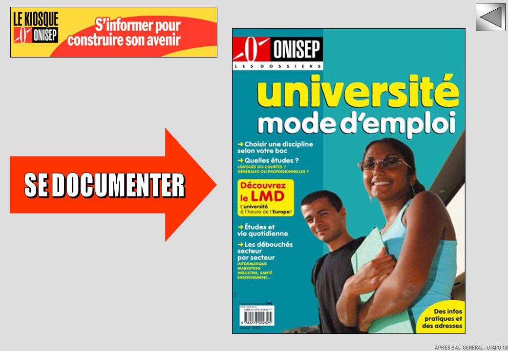 SE DOCUMENTER APRES BAC GENERAL - DIAPO 108